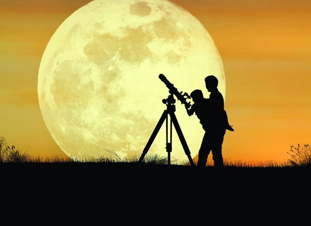 Father-Child-Telescope-Moon