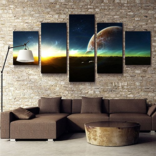 5 Panel Space Landscape Oil Painting Image
