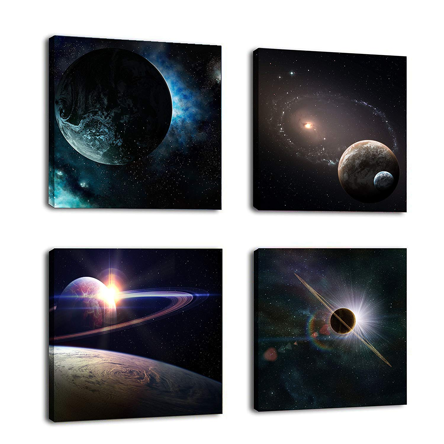 Outer Space Planet Painting Canvas 4pcs/set Image