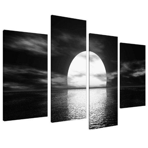 Large Black White Canvas Wall Art Poster Image