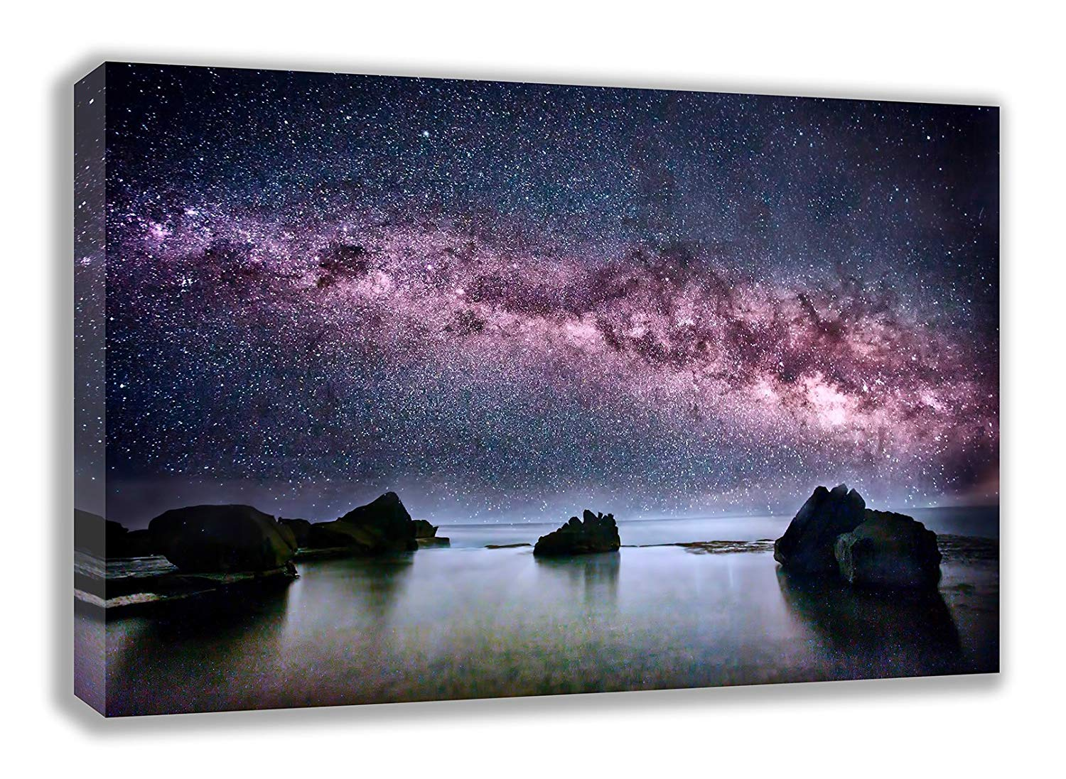 "THE MILKY WAY GALAXY ABOVE THE OCEAN SPACE CANVAS WALL ART (44X26"") Image"