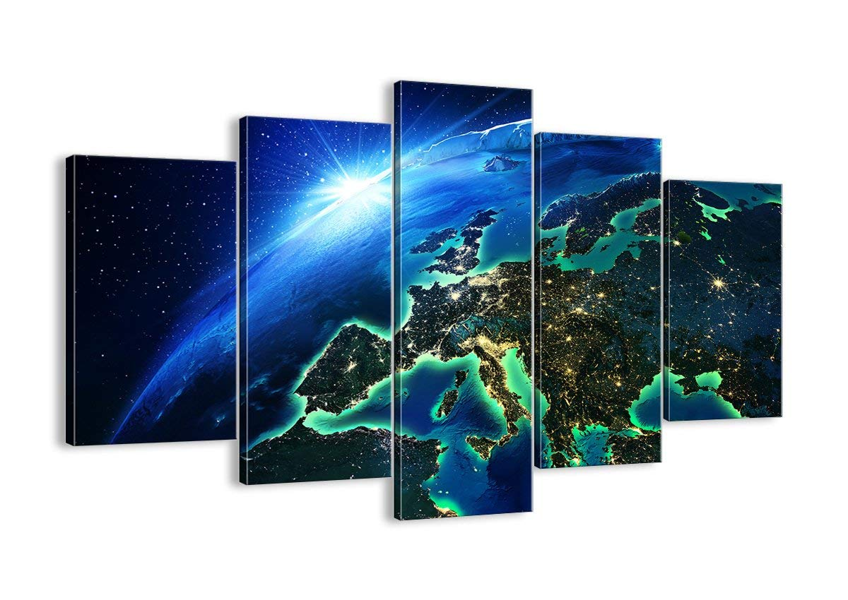 Canvas Picture - 5 Piece - 150x100cm Planet Earth Image