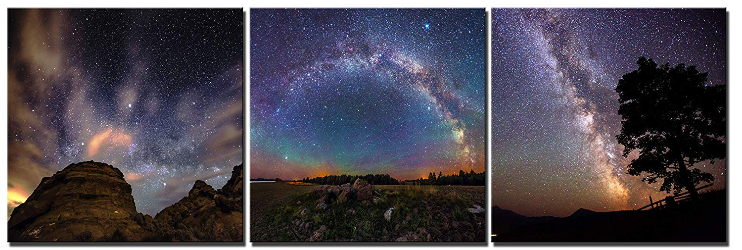 Vast Starry Sky Galaxy Painting Canvas Wall Art (40 x 40cm x 3pcs) Image