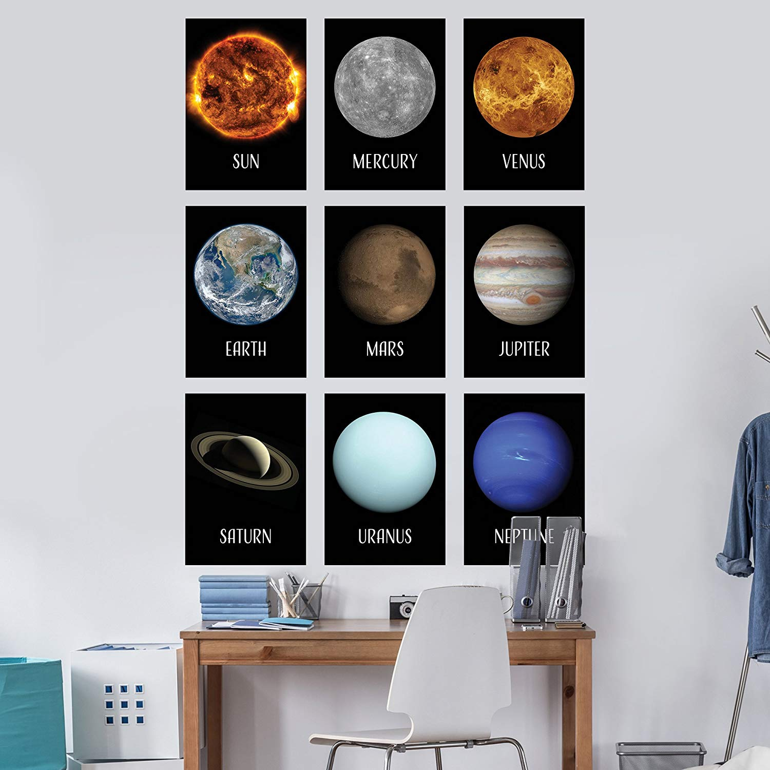 LAMINATED Solar System Poster Kit - Set of 16 Space Posters Image