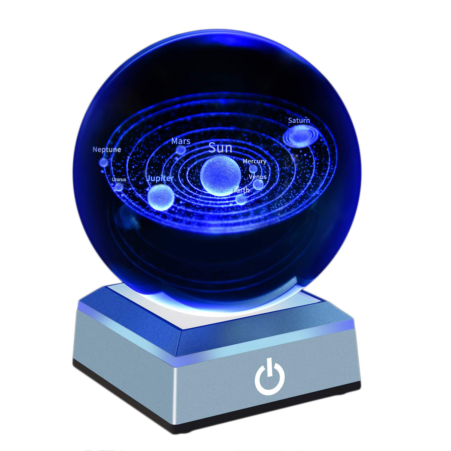3D Solar System Crystal Ball with a Touch Switch LED Light Base Image