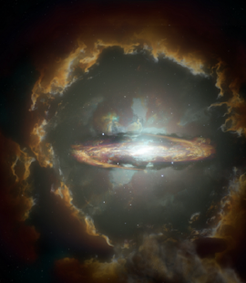 ARTIST CONCEPT OF A GALAXY IN THE EARLY UNIVERSE. IMAGE: NRAO/AUI/NSF, S. DAGNELLO